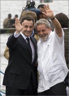 APTOPIX French Guiana Sarkozy Lula